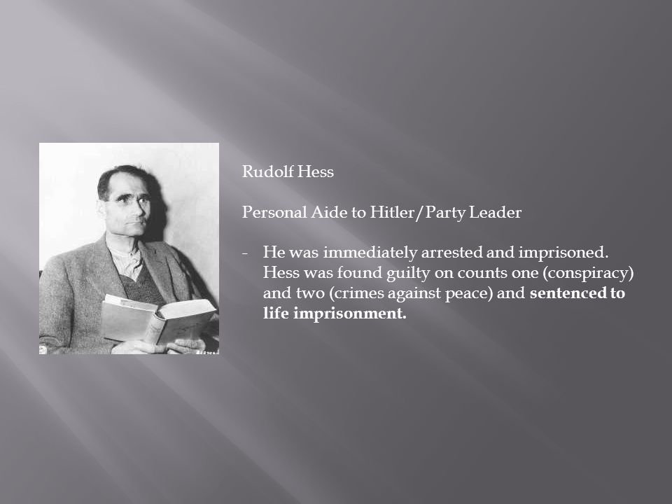Rudolf Hess Personal Aide to Hitler/Party Leader.
