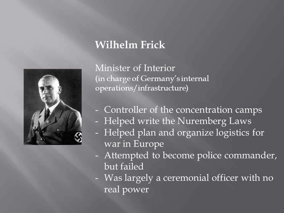 Wilhelm Frick Minister of Interior