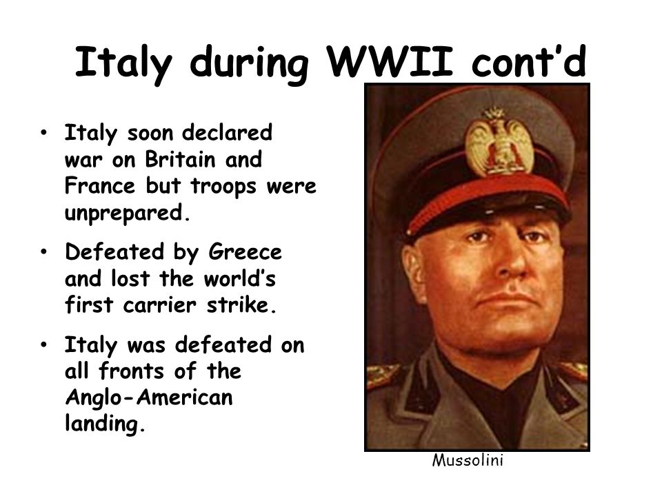 Italy during WWII cont'd