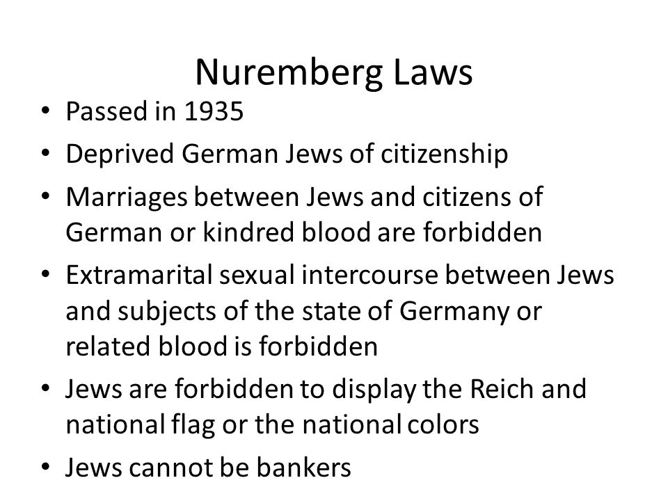 Nuremberg Laws Passed in 1935 Deprived German Jews of citizenship