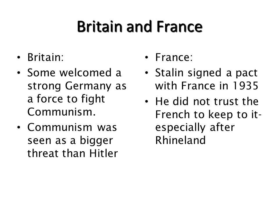 Britain and France Britain: