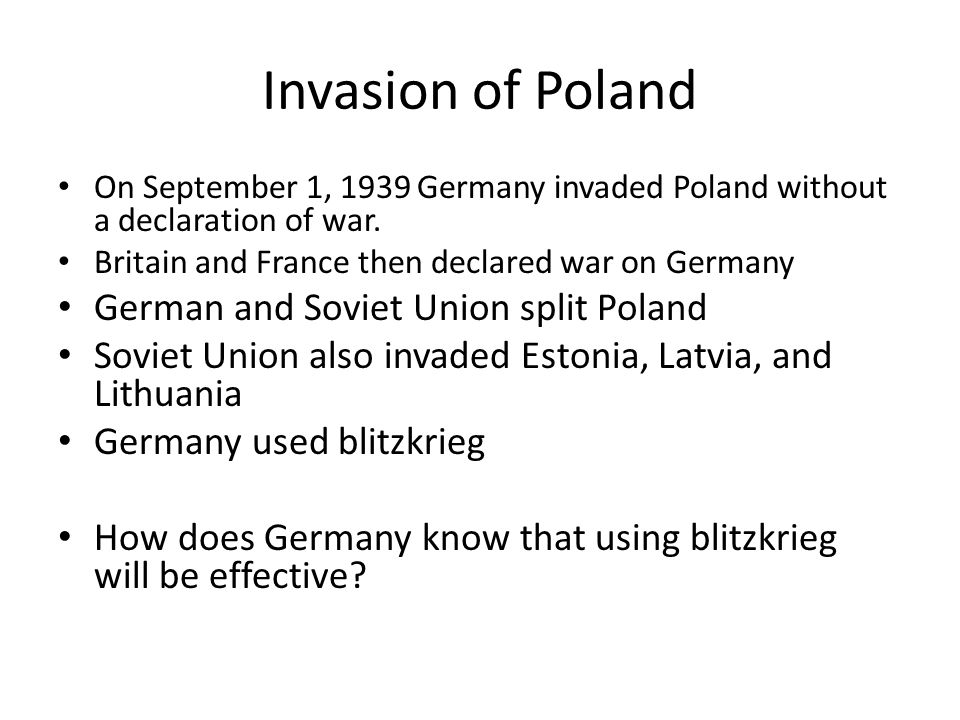 Invasion of Poland German and Soviet Union split Poland