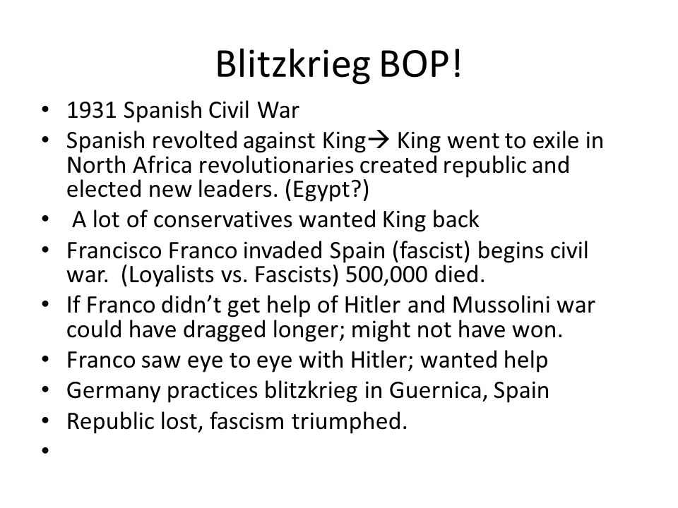 Blitzkrieg BOP! 1931 Spanish Civil War