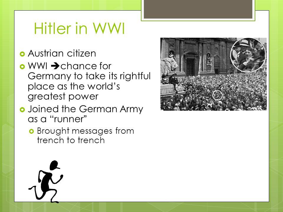 Hitler in WWI Austrian citizen