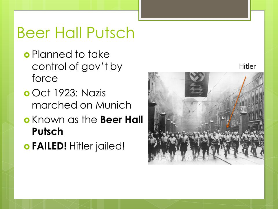 Beer Hall Putsch Planned to take control of gov't by force