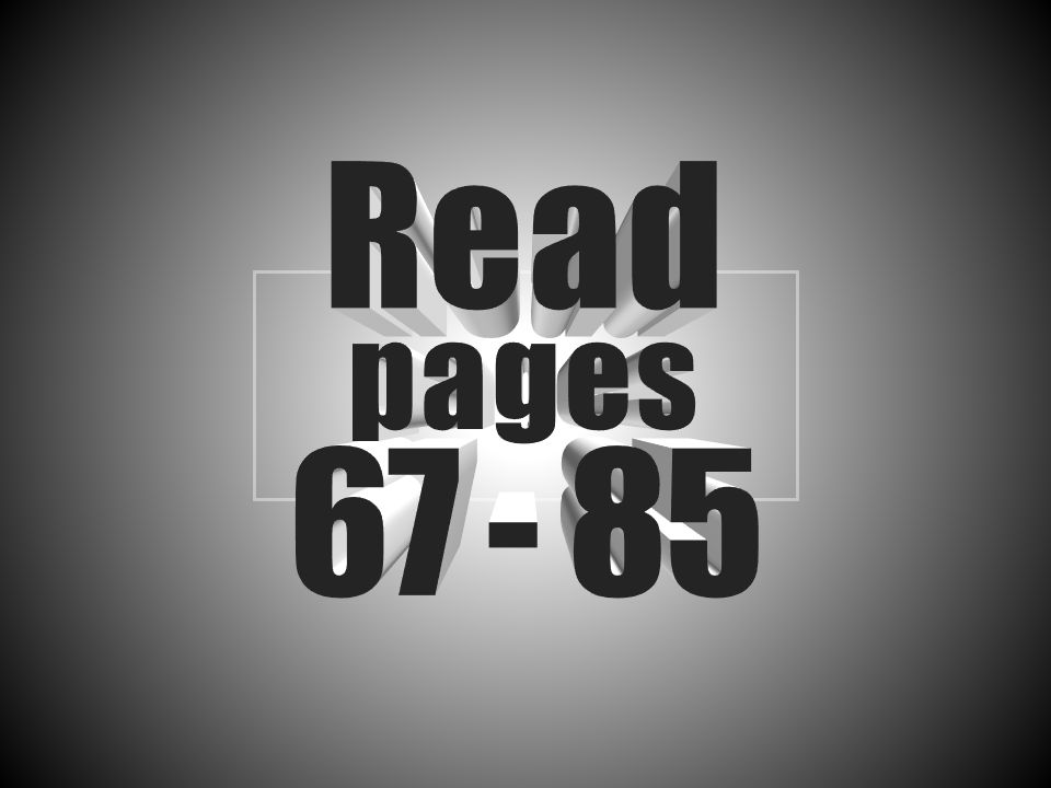 Read pages 67 - 85 Stacked, 3-D text with center perspective