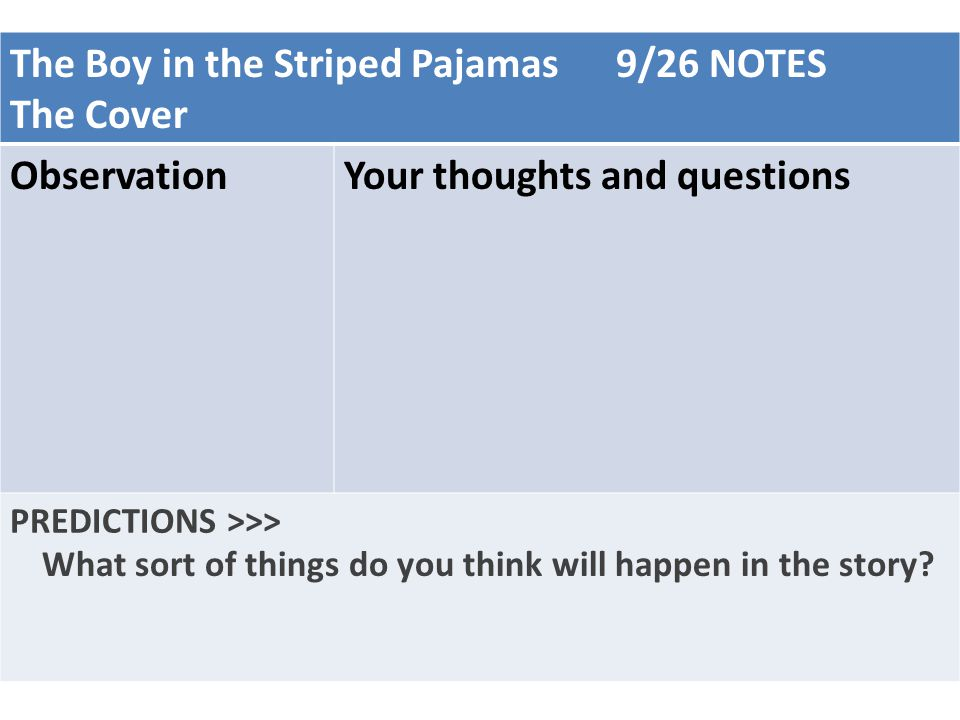 The Boy in the Striped Pajamas 9/26 NOTES The Cover Observation
