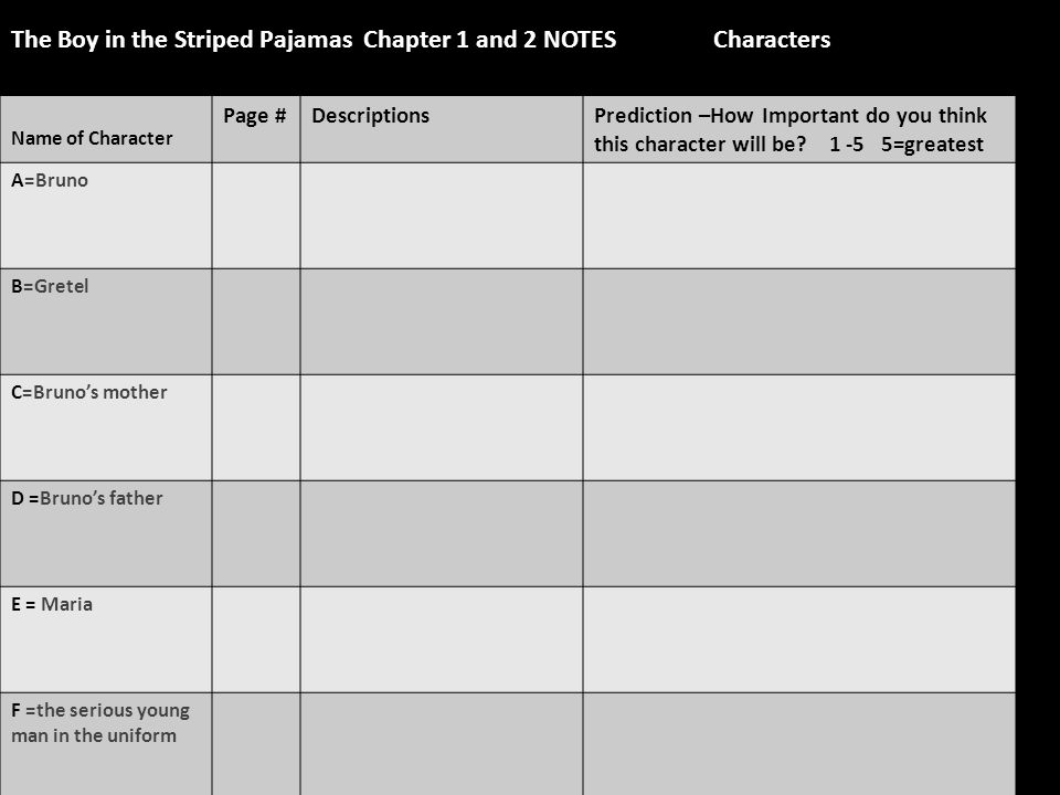 The Boy in the Striped Pajamas Chapter 1 and 2 NOTES Characters