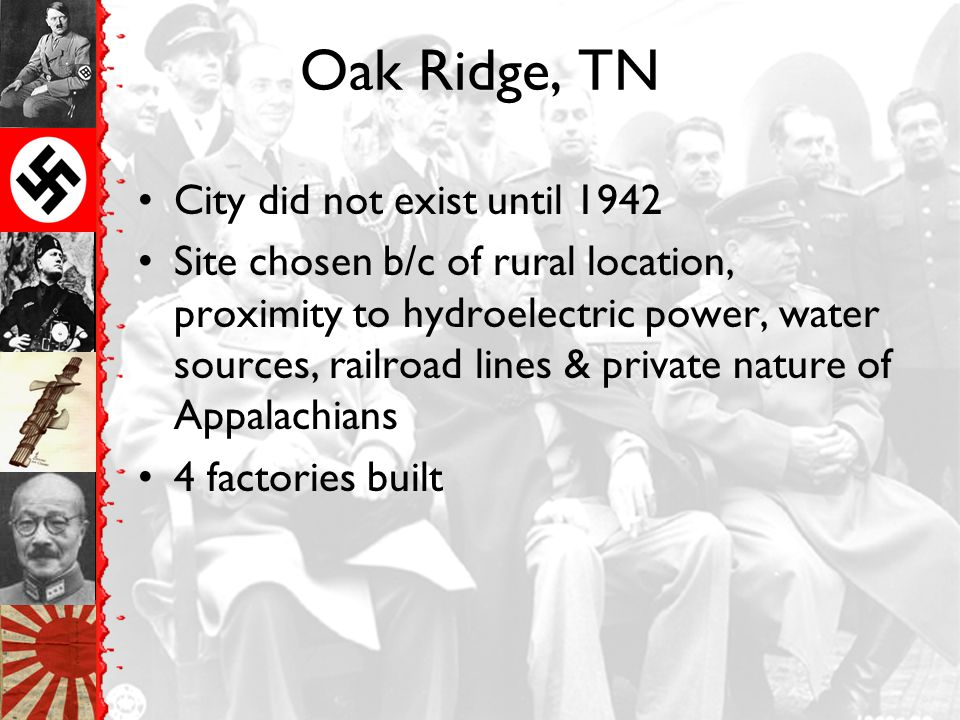 Oak Ridge, TN City did not exist until 1942