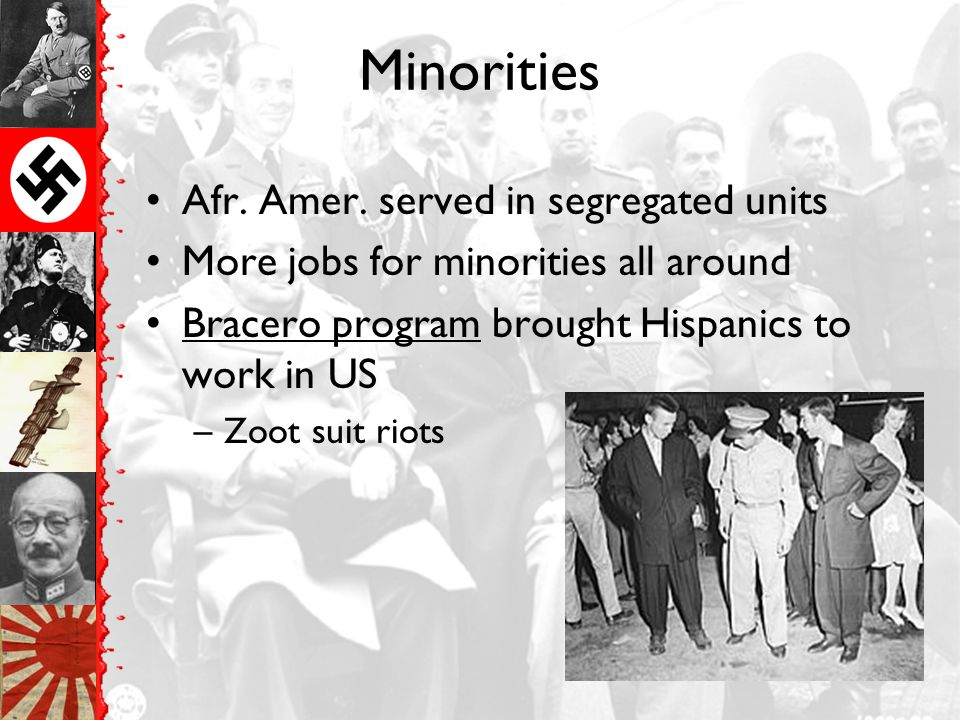 Minorities Afr. Amer. served in segregated units