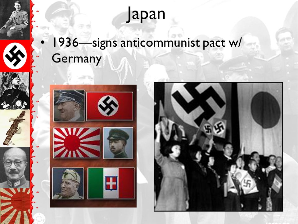 Japan 1936—signs anticommunist pact w/ Germany