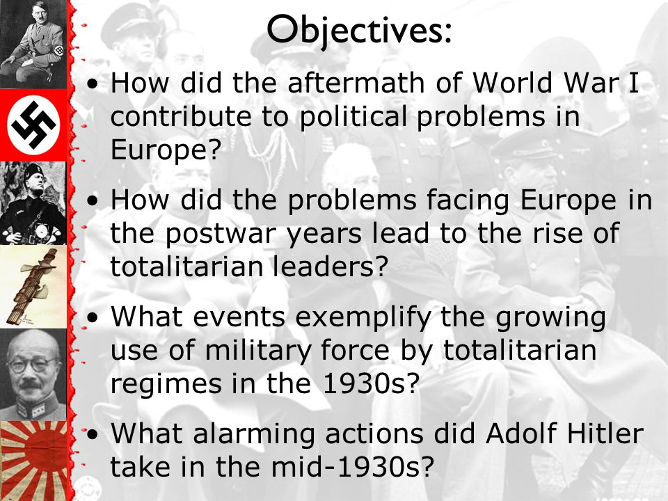 Objectives: How did the aftermath of World War I contribute to political problems in Europe