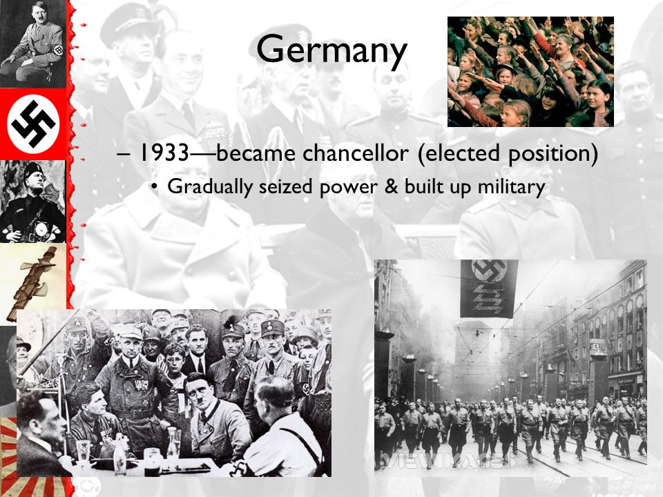 Germany 1933—became chancellor (elected position)