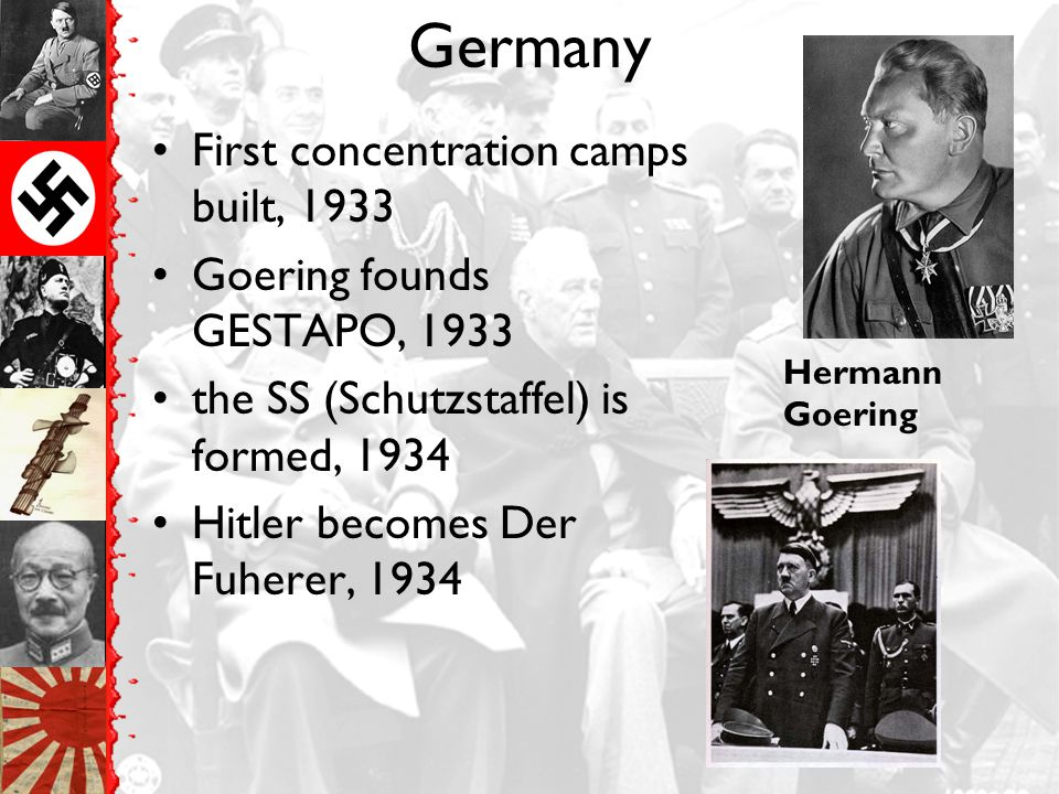 Germany First concentration camps built, 1933