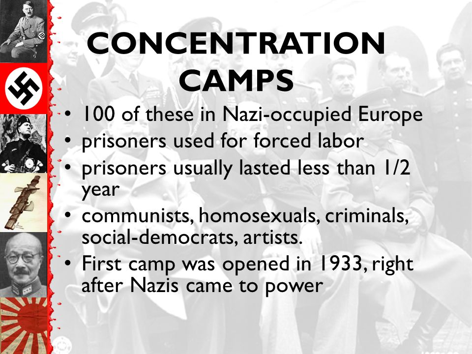 CONCENTRATION CAMPS 100 of these in Nazi-occupied Europe