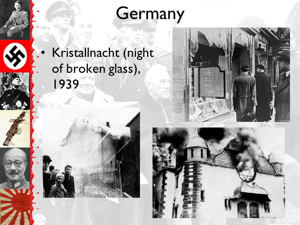 Germany Kristallnacht (night of broken glass), 1939