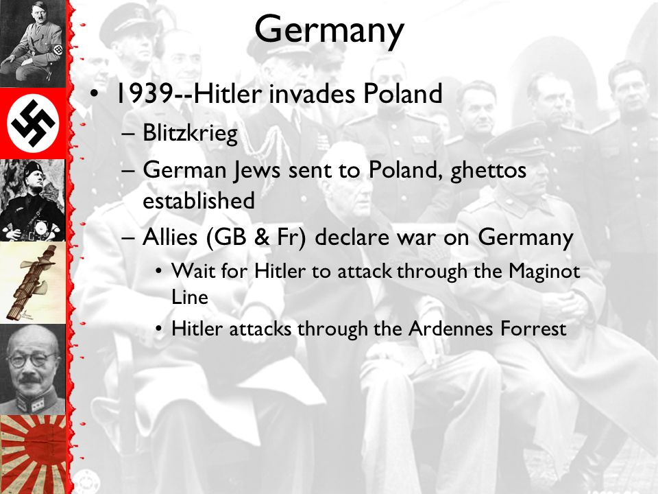 Germany 1939--Hitler invades Poland Blitzkrieg
