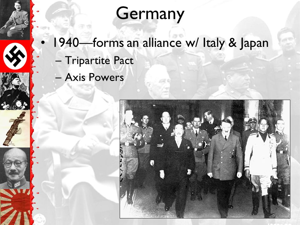 Germany 1940—forms an alliance w/ Italy & Japan Tripartite Pact
