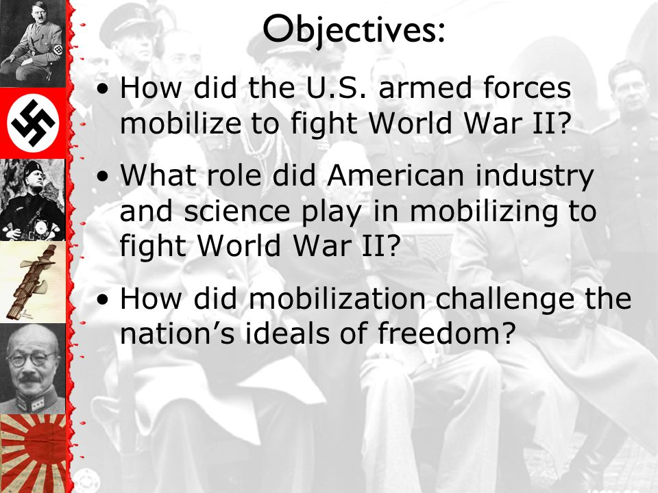 Objectives: How did the U.S. armed forces mobilize to fight World War II