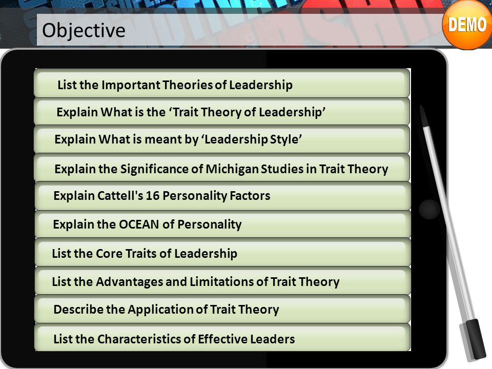 Objective List the Important Theories of Leadership
