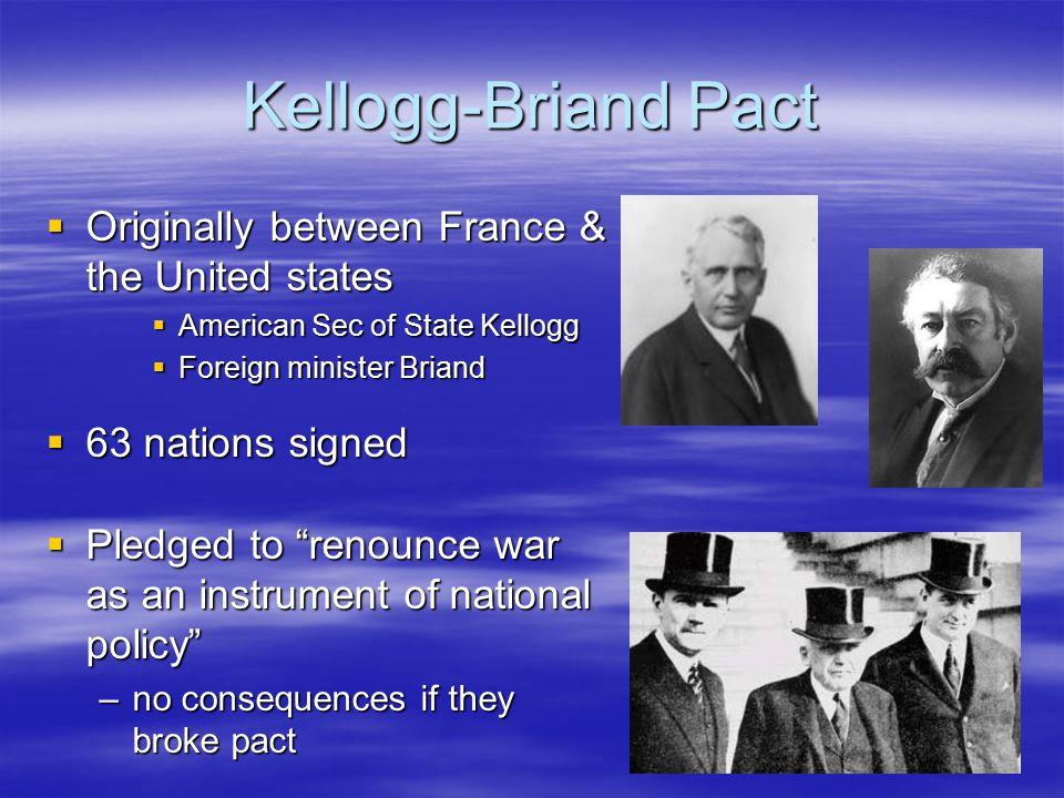 Kellogg-Briand Pact Originally between France & the United states