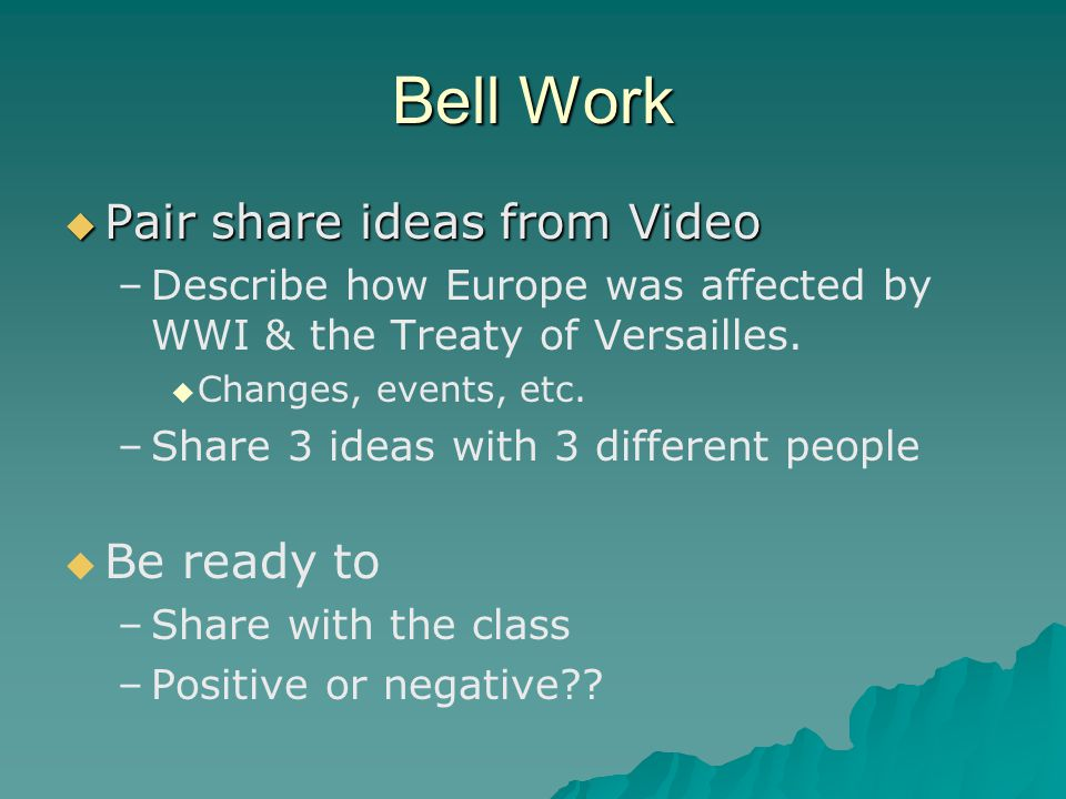 Bell Work Pair share ideas from Video Be ready to