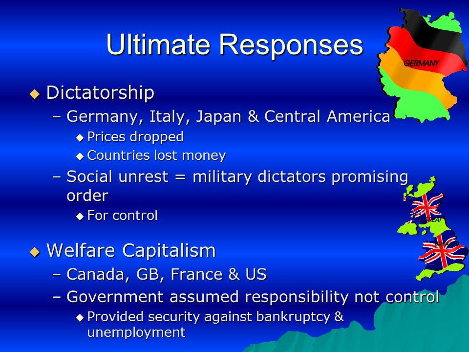 Ultimate Responses Dictatorship Welfare Capitalism