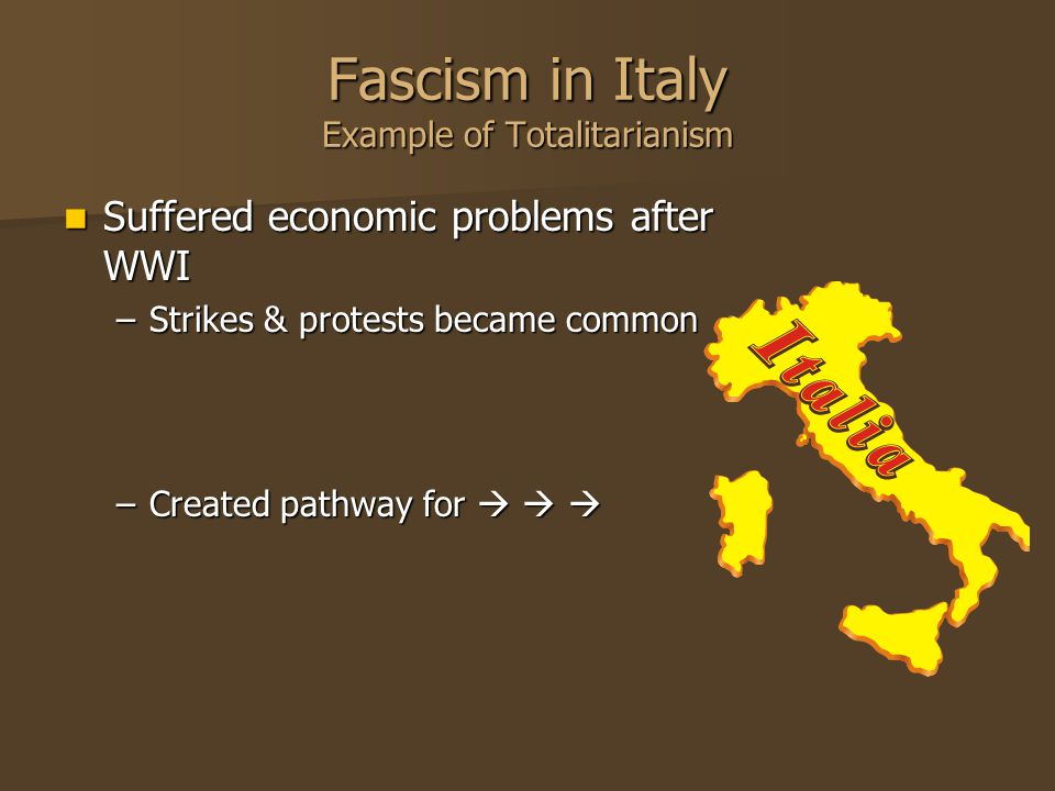 Fascism in Italy Example of Totalitarianism