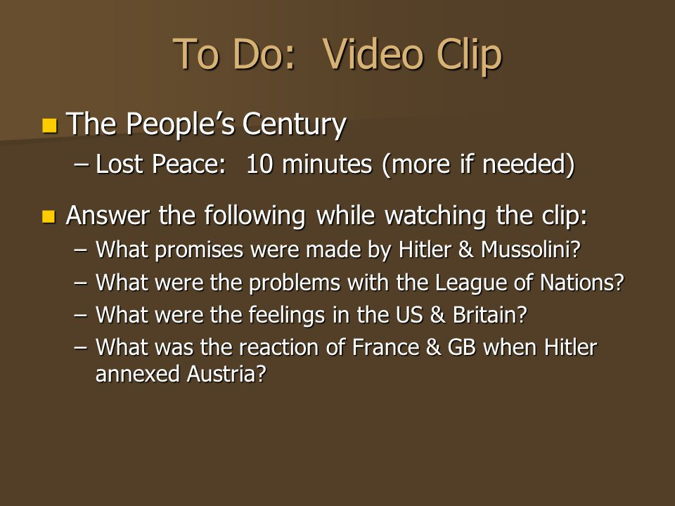 To Do: Video Clip The People's Century