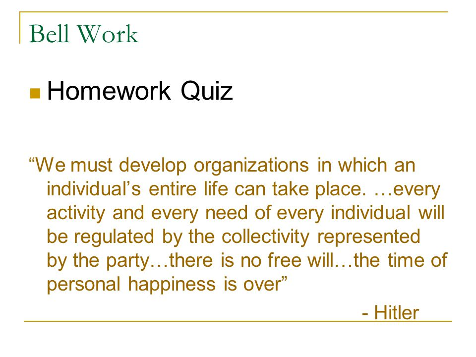 Bell Work Homework Quiz
