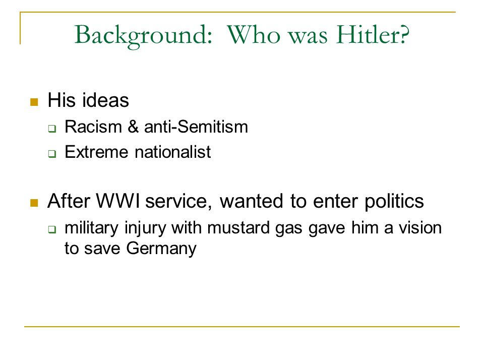 Background: Who was Hitler