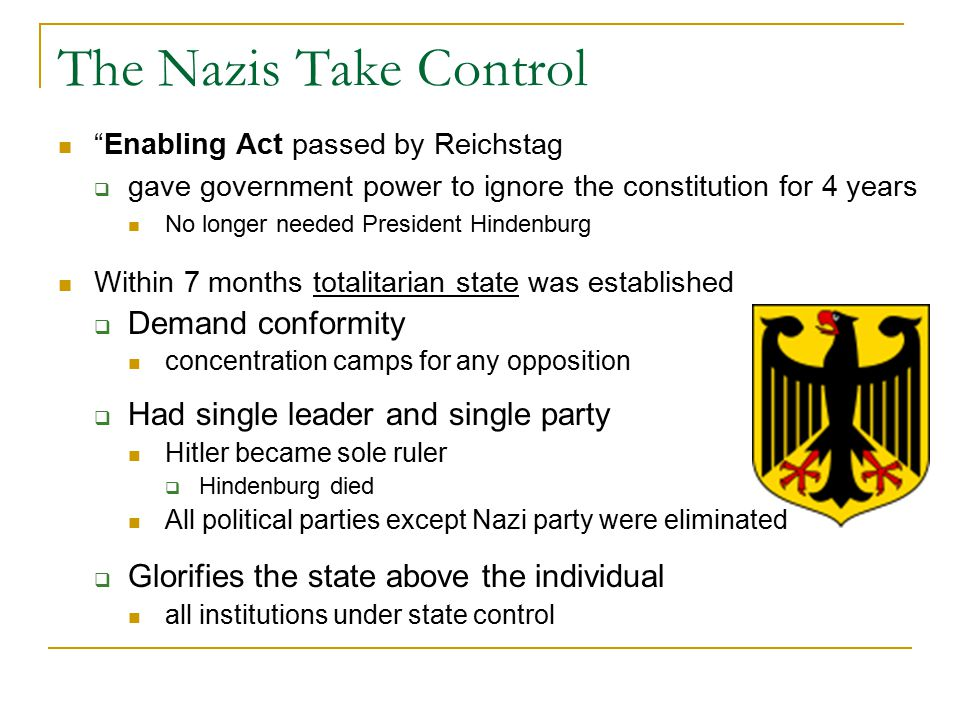 The Nazis Take Control Demand conformity