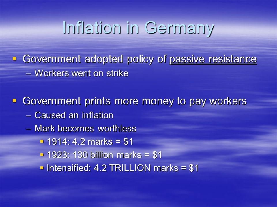 Inflation in Germany Government adopted policy of passive resistance