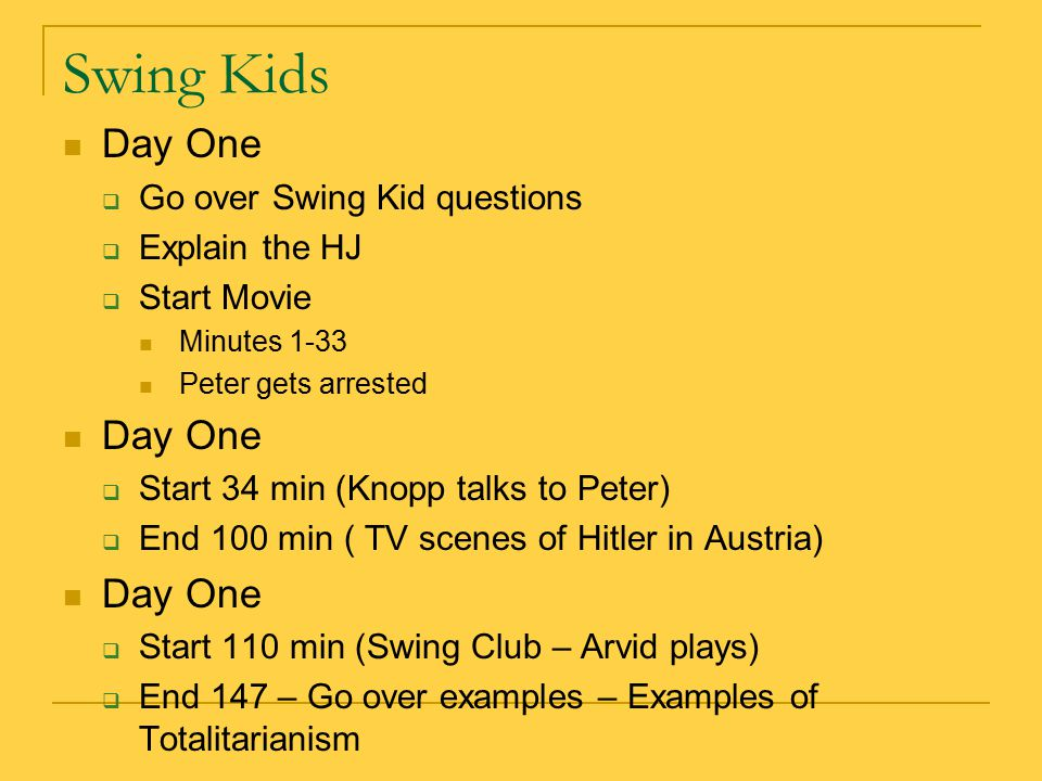 Swing Kids Day One Go over Swing Kid questions Explain the HJ