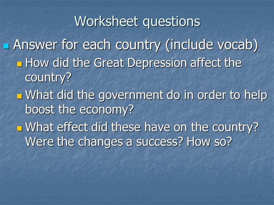 Answer for each country (include vocab)