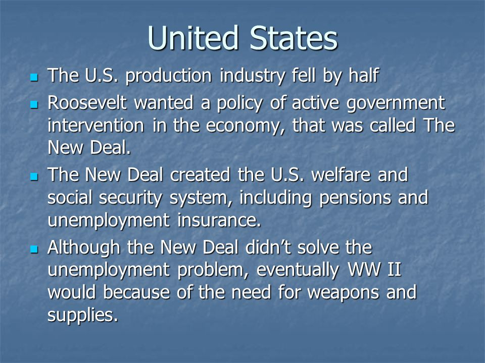 United States The U.S. production industry fell by half