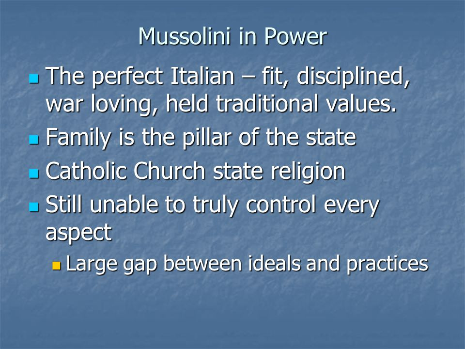Family is the pillar of the state Catholic Church state religion
