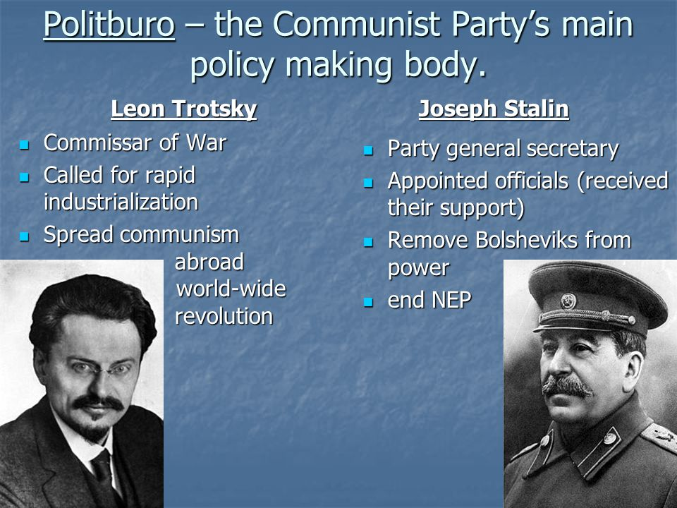 Politburo – the Communist Party's main policy making body.