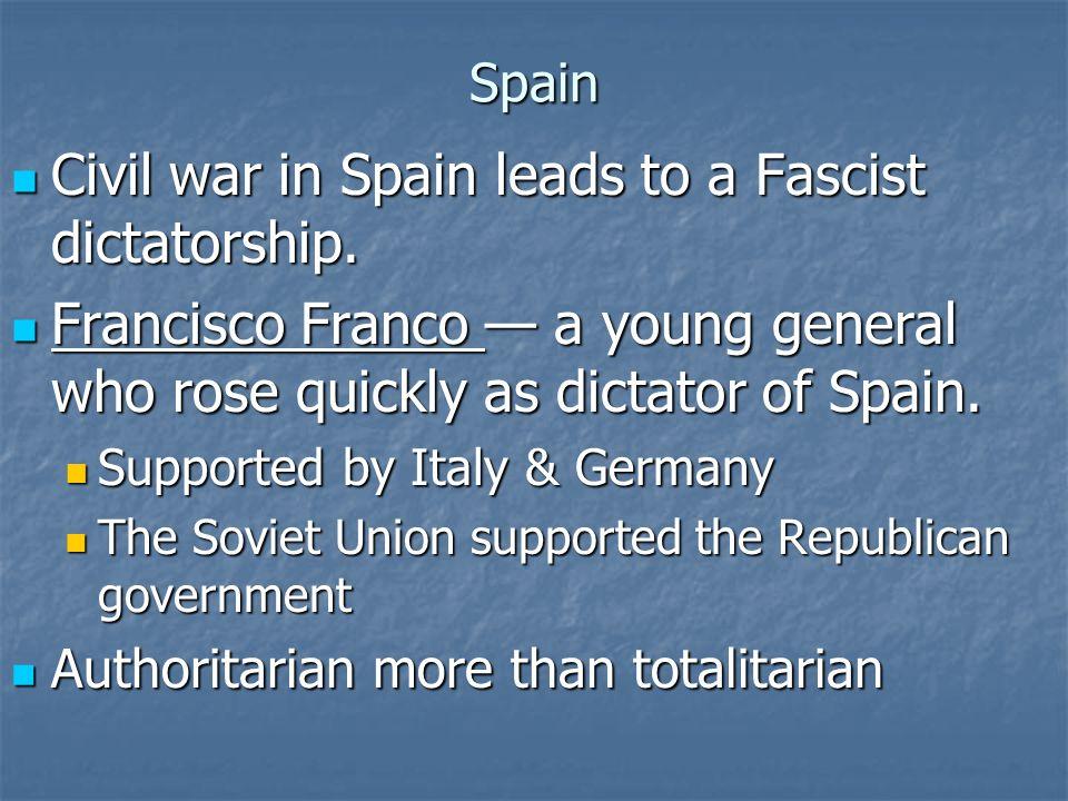 Civil war in Spain leads to a Fascist dictatorship.