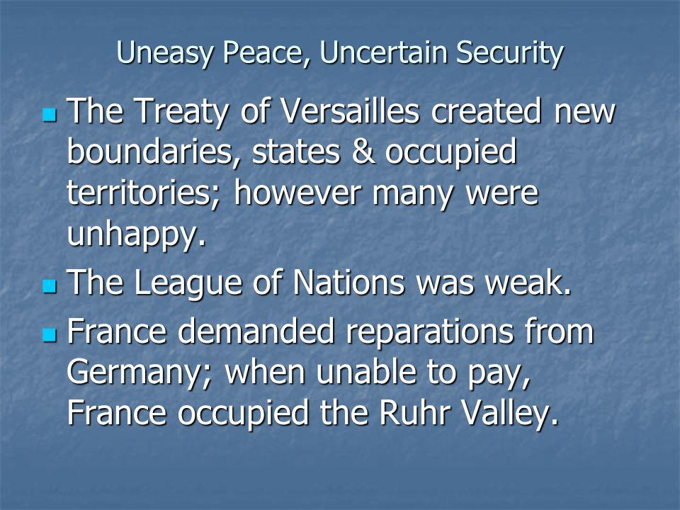 Uneasy Peace, Uncertain Security