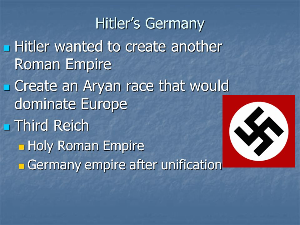 Hitler wanted to create another Roman Empire