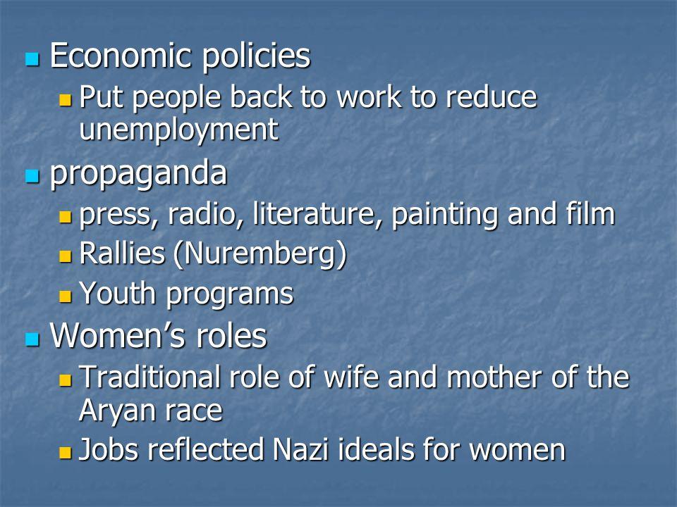 Economic policies propaganda Women's roles
