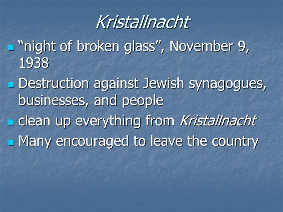 Kristallnacht night of broken glass , November 9, 1938