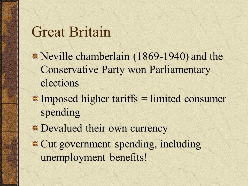 Great Britain Neville chamberlain (1869-1940) and the Conservative Party won Parliamentary elections.