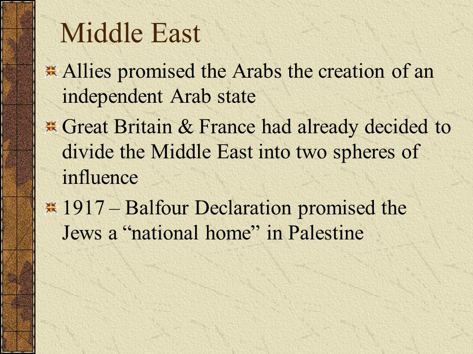 Middle East Allies promised the Arabs the creation of an independent Arab state.