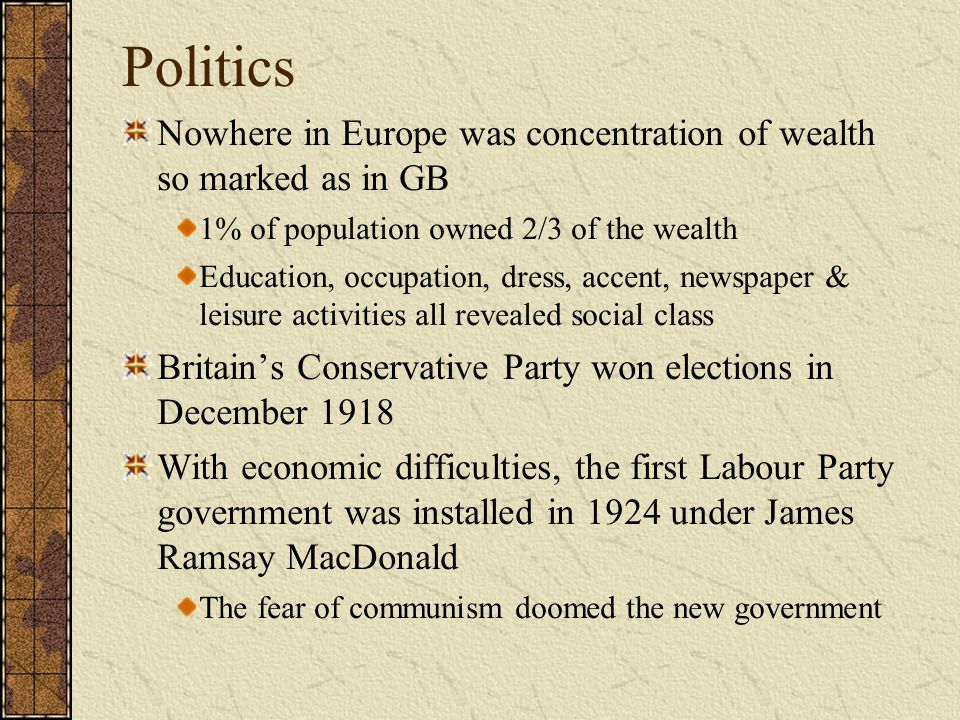 Politics Nowhere in Europe was concentration of wealth so marked as in GB. 1% of population owned 2/3 of the wealth.