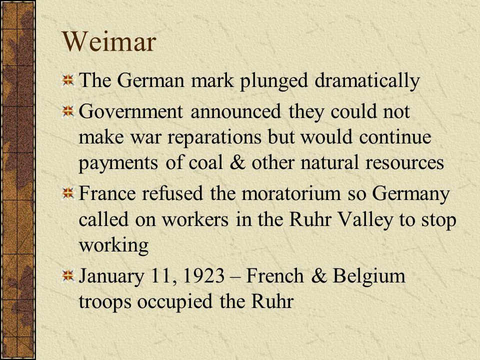 Weimar The German mark plunged dramatically