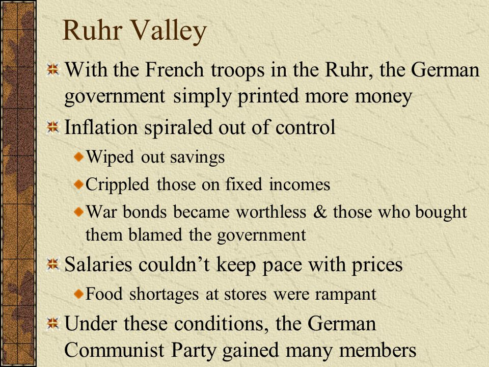 Ruhr Valley With the French troops in the Ruhr, the German government simply printed more money. Inflation spiraled out of control.