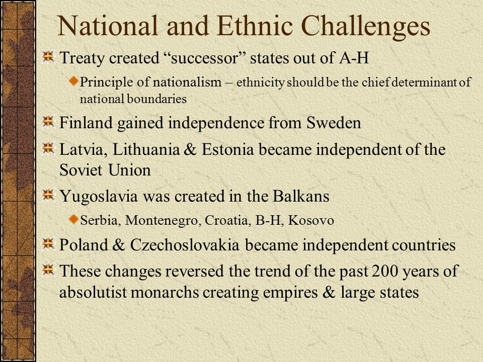 National and Ethnic Challenges