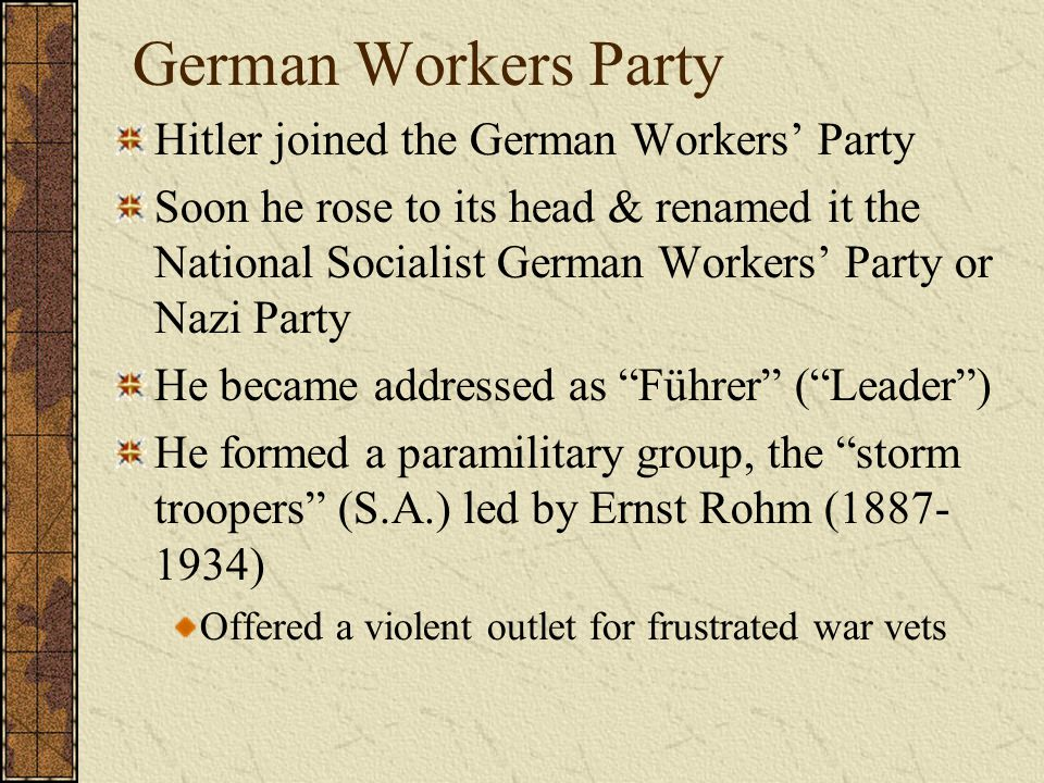 German Workers Party Hitler joined the German Workers' Party